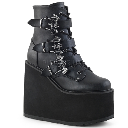 Black Vegan Leather Wedge Platform Ankle Boot