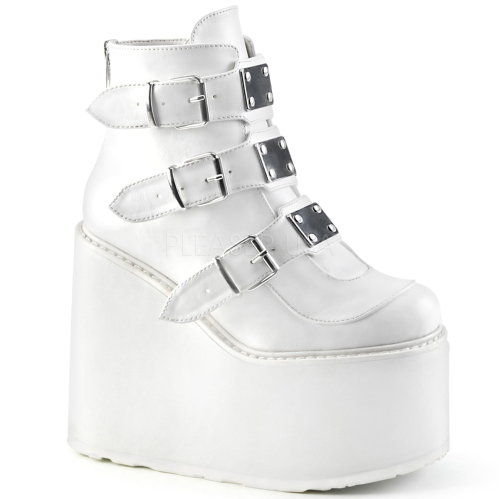 Domonia SWING-105 White Vegan Buckle Ankle Boot