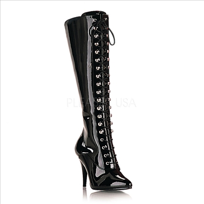 Knee-High Classic Pointed Toe Black Patent Boots