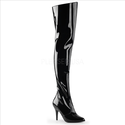 Black Patent Shiny Thigh High 4 Inch Heel Boots