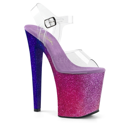 XTREME-808OMBRE 8 inch Heel Fuchsia-Blue Ombre