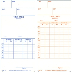 Acroprint ATR121 Weekly/Bi-Weekly Time Cards for ATR120, Box of 500