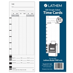 Lathem E17 Time Cards for Model 700E