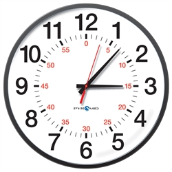 Battery Analog Clock, 12-Hr w/Seconds Face, 13' Size