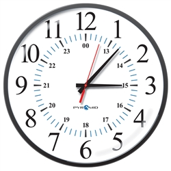 Battery Analog Clock, 12/24-Hr Face, 13' Size