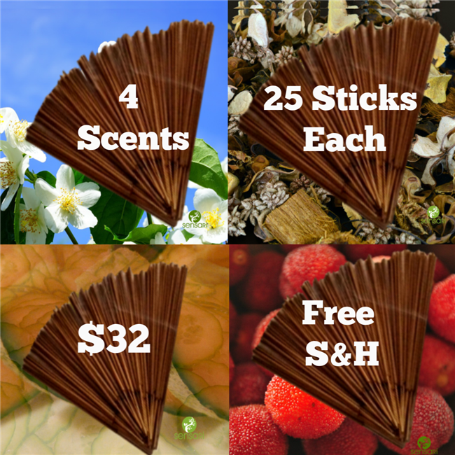 4 Scents, 25 Sticks Each