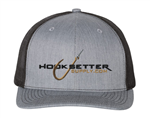 Hooksetter Logo Embroidered Ball Cap - Heather Grey and Black