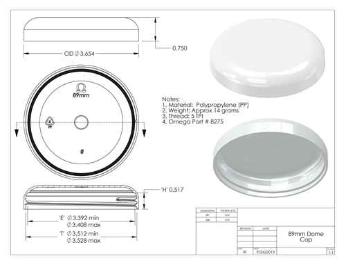 89mm-400 (440 per case) white polypropylene dome unlined closure - Product  Code: 89-8275