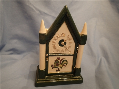 Steeple Clock Planter California Provincial Green Rooster