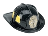 Black Firefighter Helmet w/ Yellow Accents
