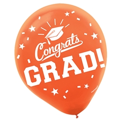 Congrats Grad Orange Latex Balloons - 15 Count