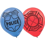 "FIRE FIGHTER AND POLICE 12"" LATEX BALLOONS"