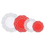 Red and White Paper Doilies Multipack