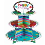 BIRTHDAY DOTS & STRIPES BIRTHDAY CUPCAKE STAND