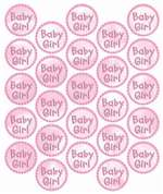 BABY GIRL METALLIC ENVELOPE SEALS