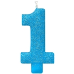 1st Birthday Blue Glitter Candle