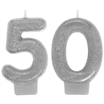Sparkling Celebration 50th Silver Glitter Candle