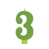 Numeral 3 Green Glittered 5 Inch Candle