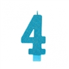 Numeral 4 Blue Glittered 5 Inch Candle