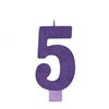 Numeral 5 Purple Glittered 5 Inch Candle