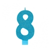 Numeral 8 Blue Glittered 5 Inch Candle