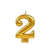Metallic Gold Numeral 2 Candle