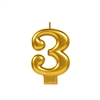 Metallic Gold Numeral 3 Candle