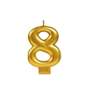 Metallic Gold Numeral 8 Candle