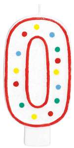 "#0 POLKA DOTS 5"" BIRTHDAY CANDLE"