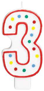 "#3 POLKA DOTS 5"" BIRTHDAY CANDLE"