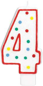 "#4 POLKA DOTS 5"" BIRTHDAY CANDLE"