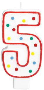 "#5 POLKA DOTS 5"" BIRTHDAY CANDLE"