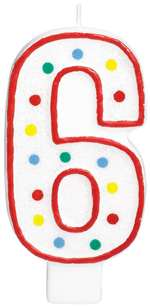 "#6 POLKA DOTS 5"" BIRTHDAY CANDLE"