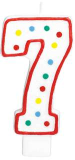 "#7 POLKA DOTS 5"" BIRTHDAY CANDLE"