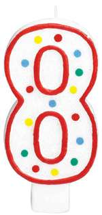 "#8 POLKA DOTS 5"" BIRTHDAY CANDLE"