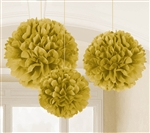 Fluffy Tissue Decorations - Gold