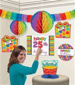 BIRTHDAY DOTS & STRIPES BIRTHDAY CUTOUTS DECORATION KIT