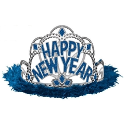 Happy New Year Electroplated Tiara with Maribou - Blue