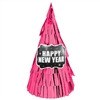 New Year's Cone Hat All Over Fringe - Pink