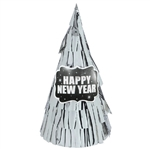 New Year's Cone Hat All Over Fringe - Silver