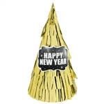 New Year's Cone Hat All Over Fringe - Gold