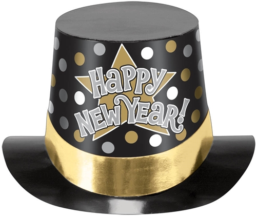 Happy New Year Hat Black/Silver/Gold Printed - Bartz's ...