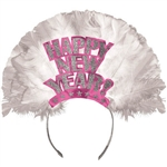 Happy New Year Tiara Pink Foil with Glitter and Feathers