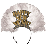 Happy New Year Tiara Gold Foil with Glitter and Feathers