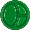 GREEN DIVIDED PLASTIC PLATES 10.25in.-20 CT
