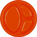 ORANGE DIVIDED PLASTIC PLATES 10.25in.-20 CT
