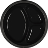 BLACK DIVIDED PLASTIC PLATES 10.25in.-20 CT