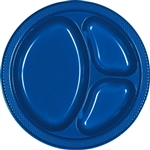 ROYAL BLUE DIVIDED PLASTIC PLATES 10.25in.-20 CT