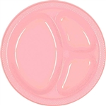 NEW PINK DIVIDED PLASTIC PLATES 10.25in.-20 CT