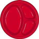 RED DIVIDED PLASTIC PLATES 10.25in.-20 CT